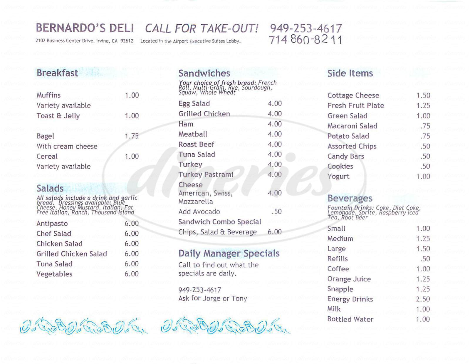 menu for Bernardo's Deli