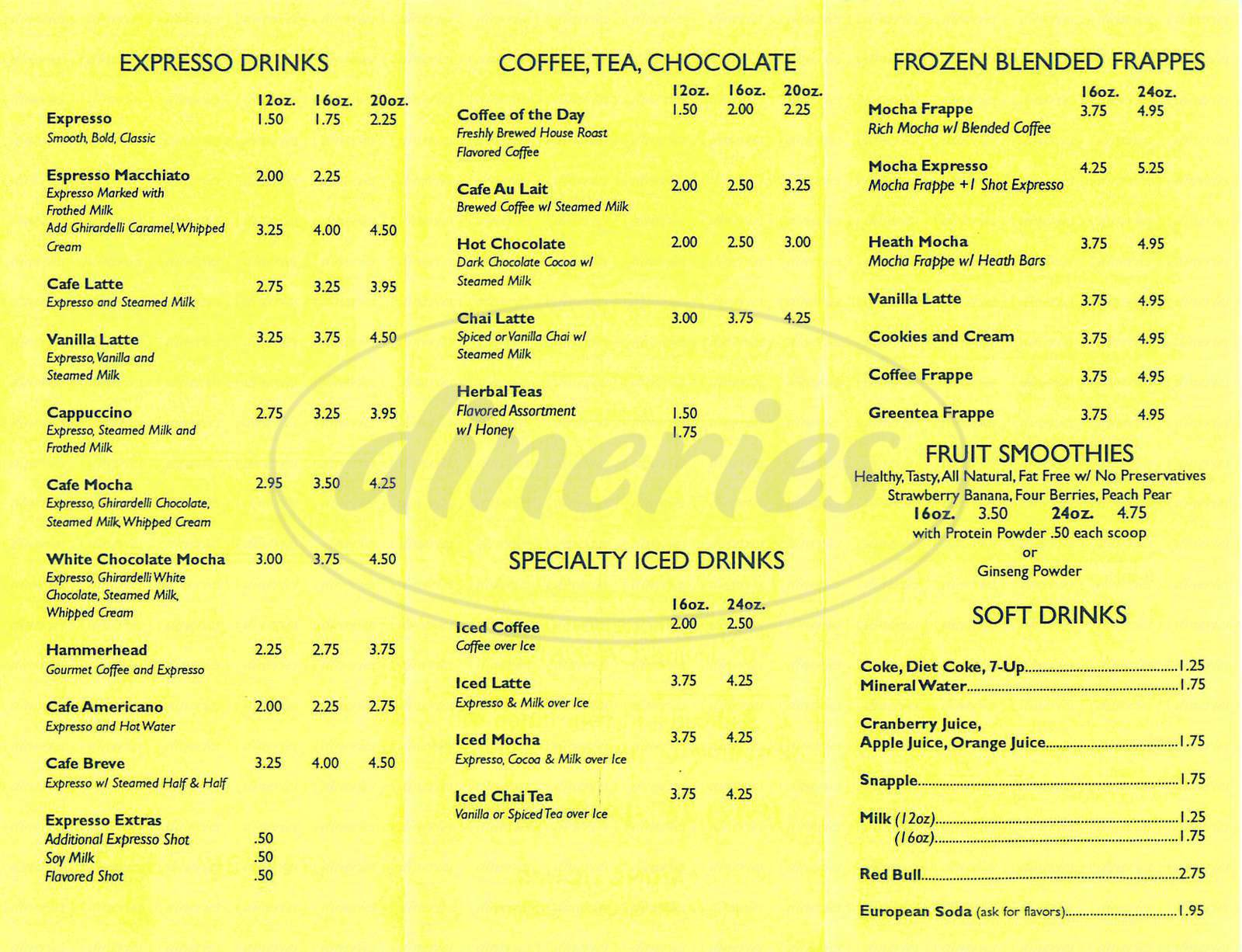 menu for Javahut Express