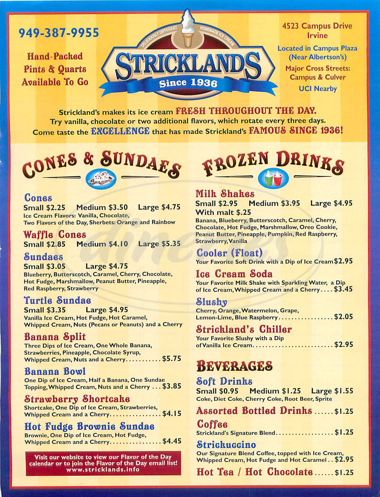 menu for Stricklands