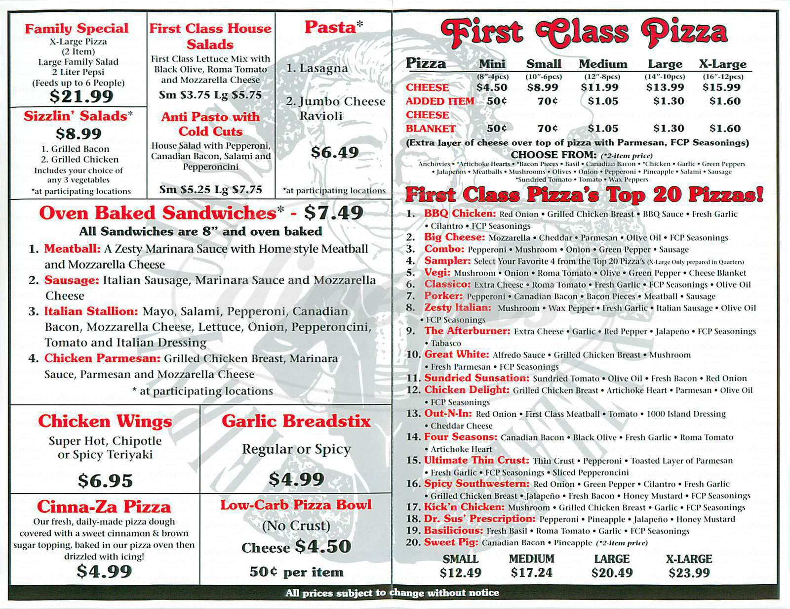 menu for First Class Pizza