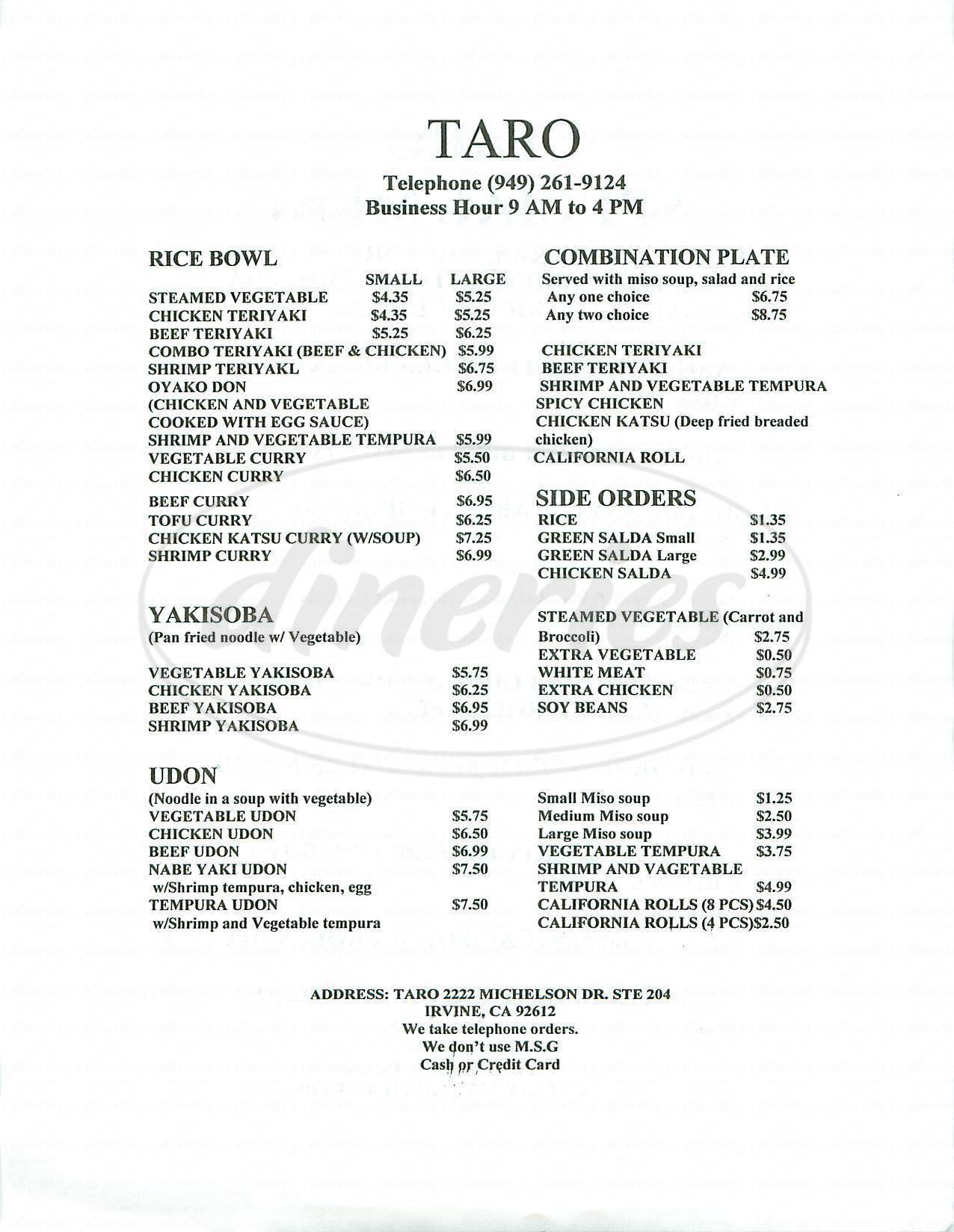 Big menu for Taro, Irvine