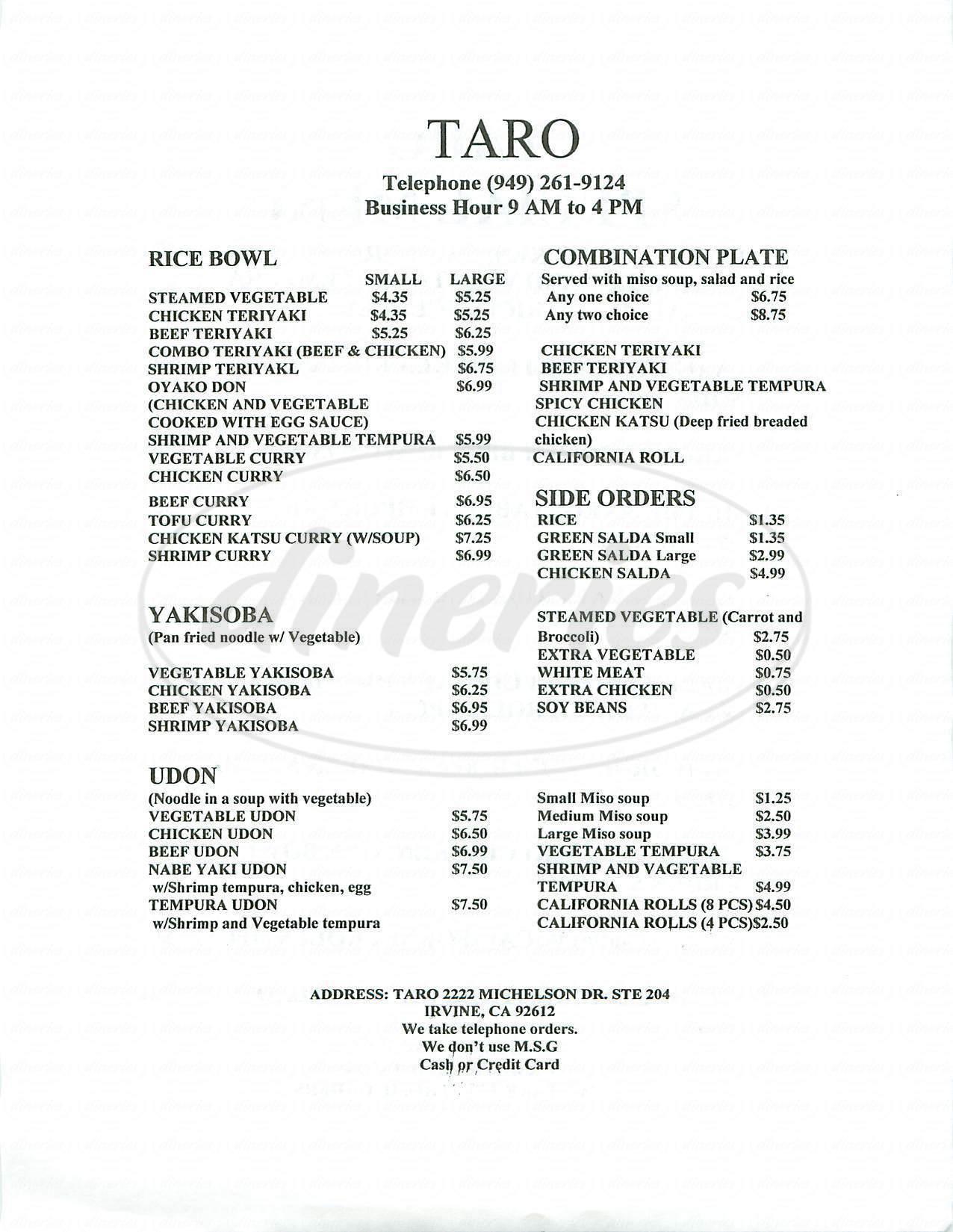 menu for Taro