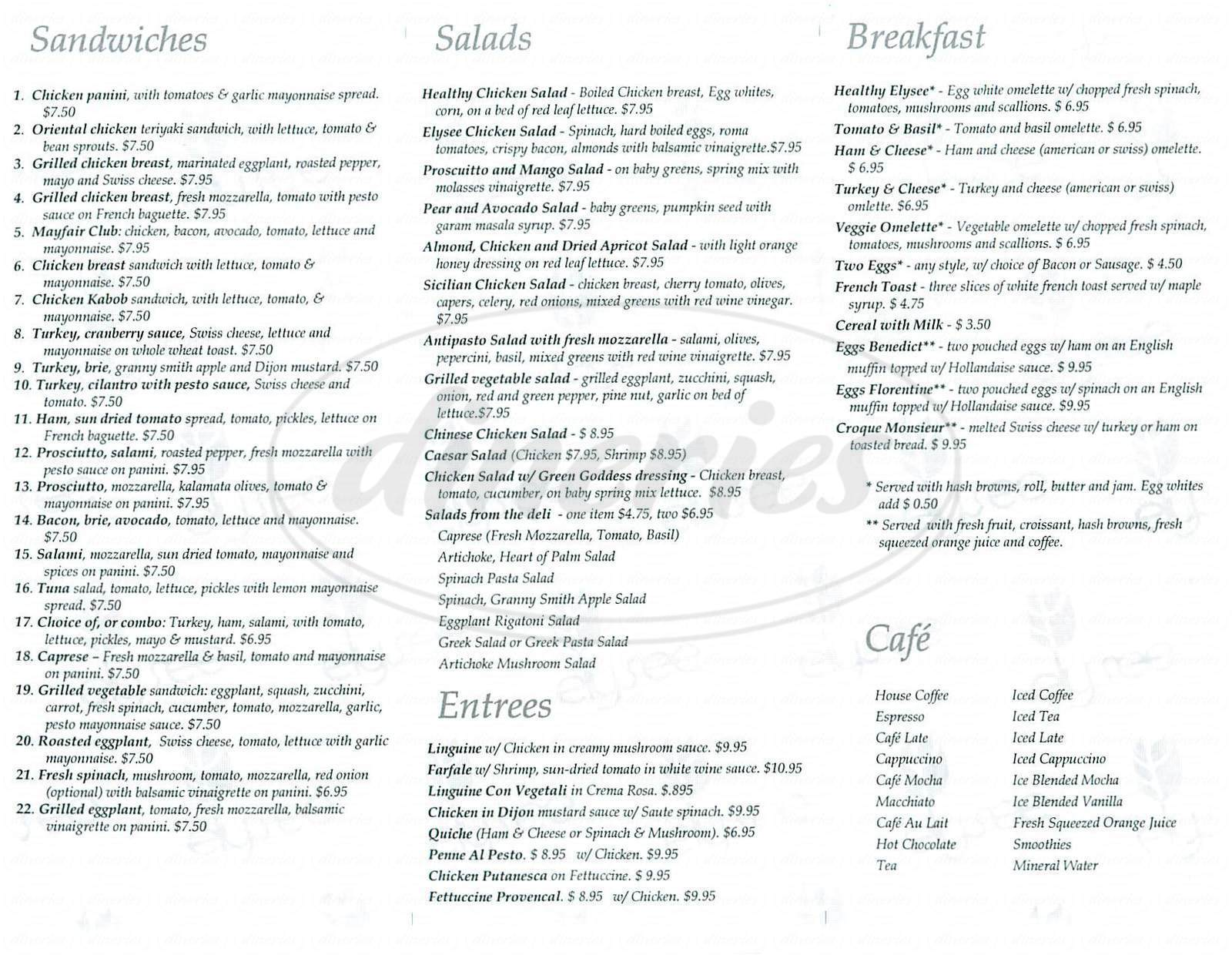 menu for Elysee Bakery & Cafe