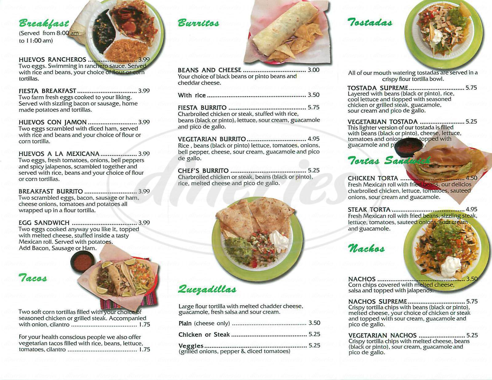 menu for La Fiesta Grill