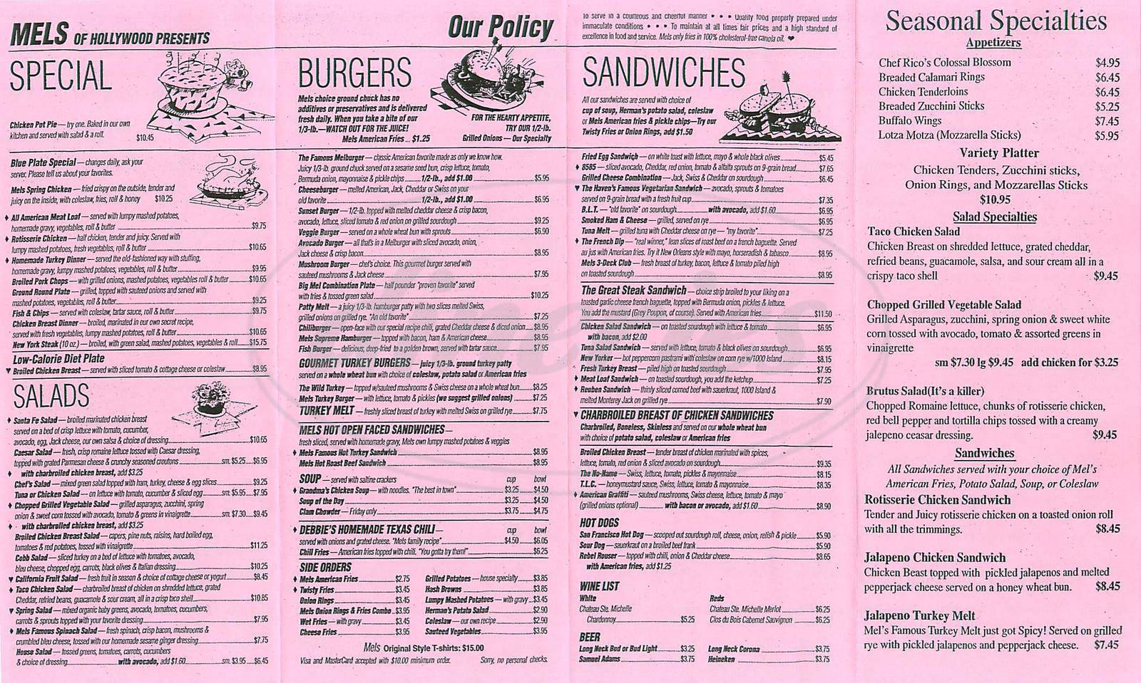 menu for Mels Drive-In
