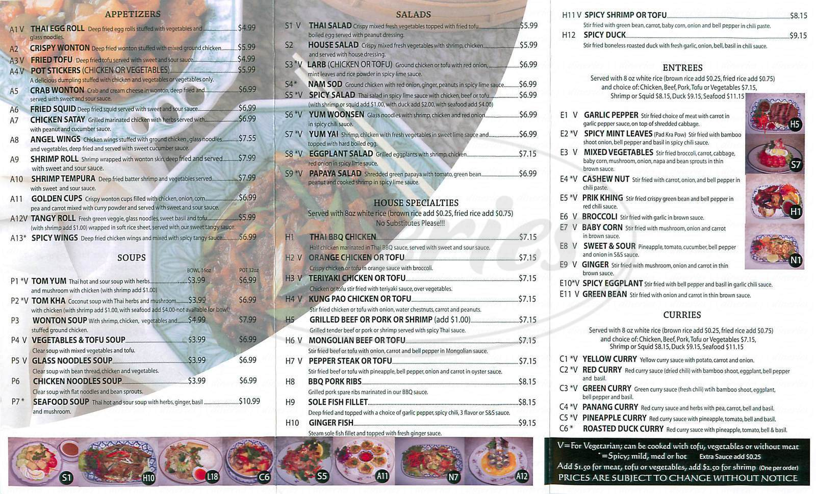 menu for Tangy Thai