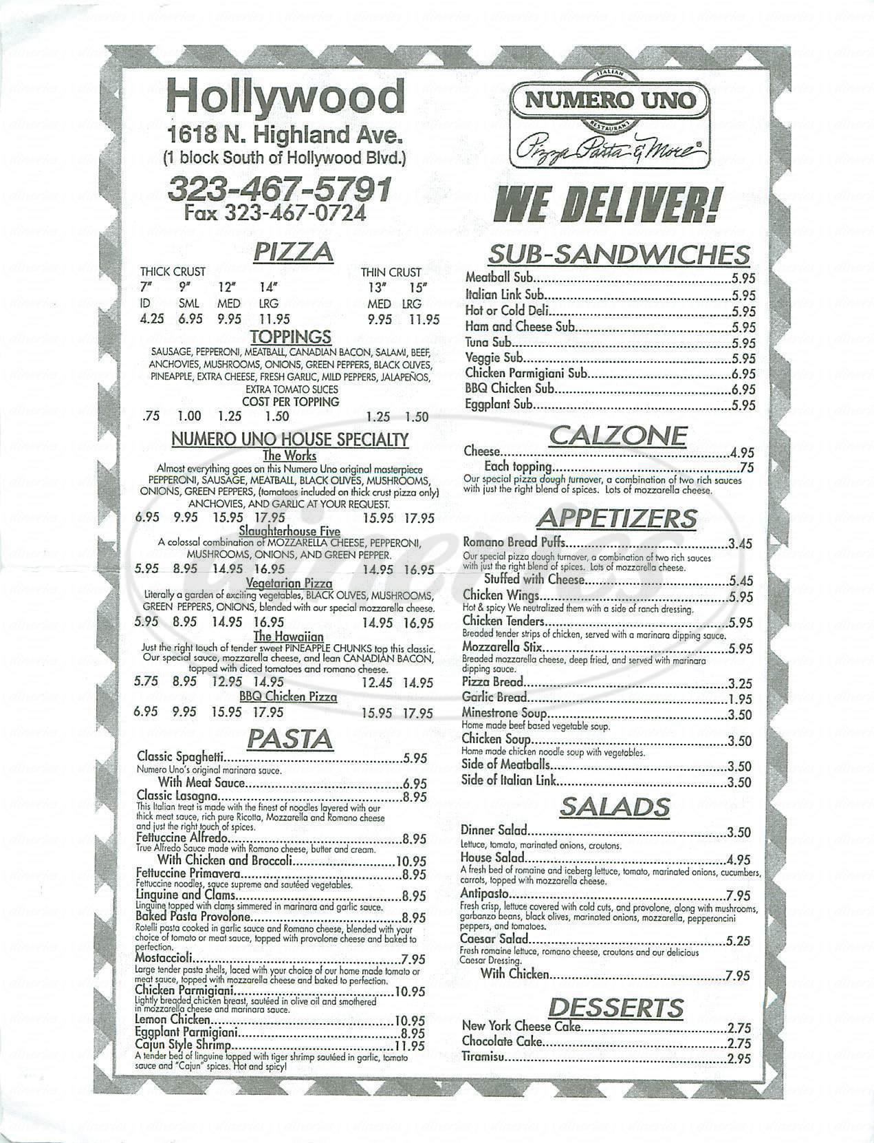 menu for Numero Uno
