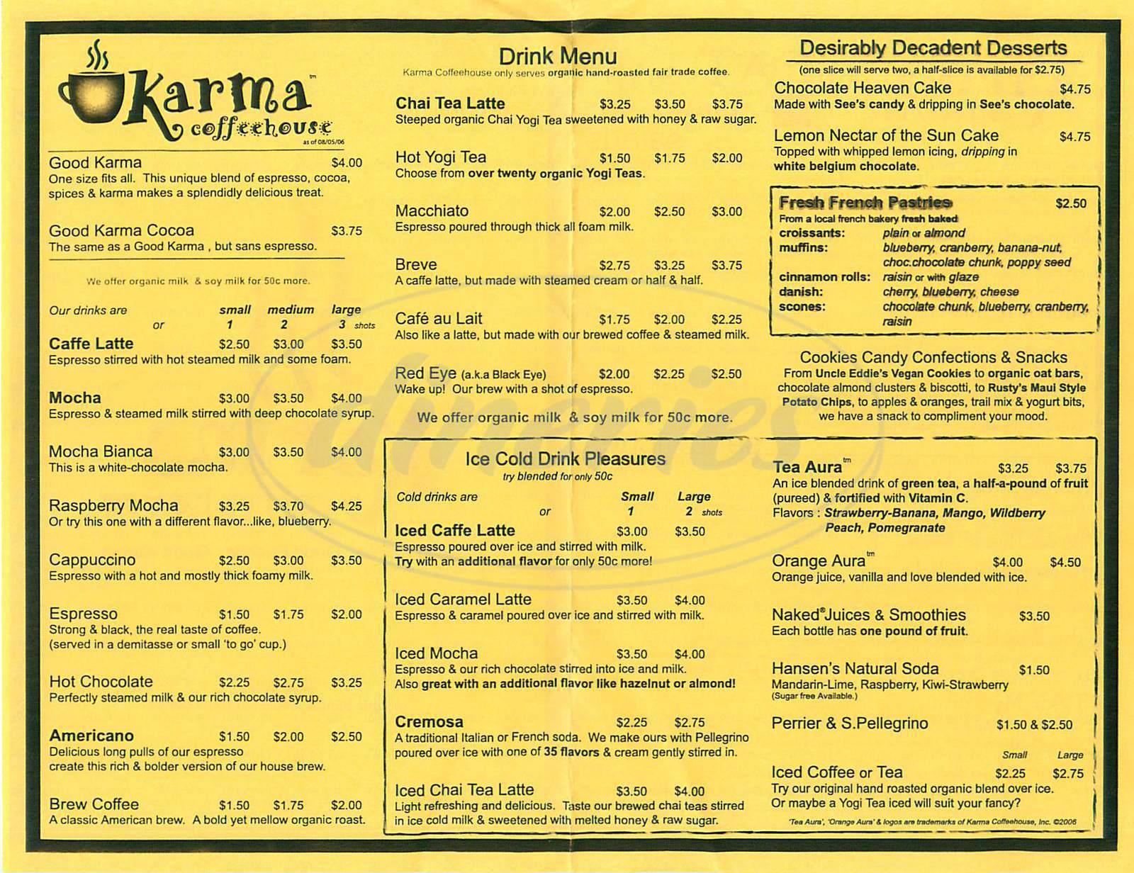 menu for Karma Coffehouse