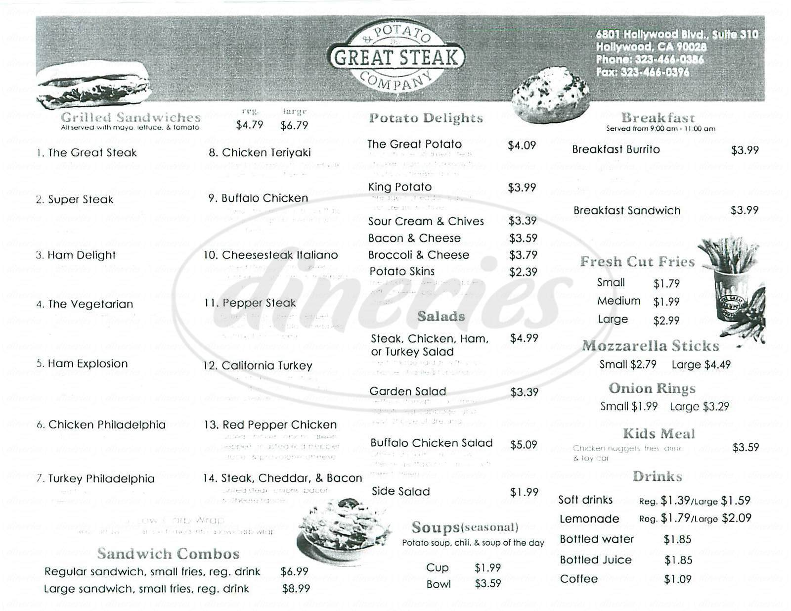 menu for Great Steak & Potato Company