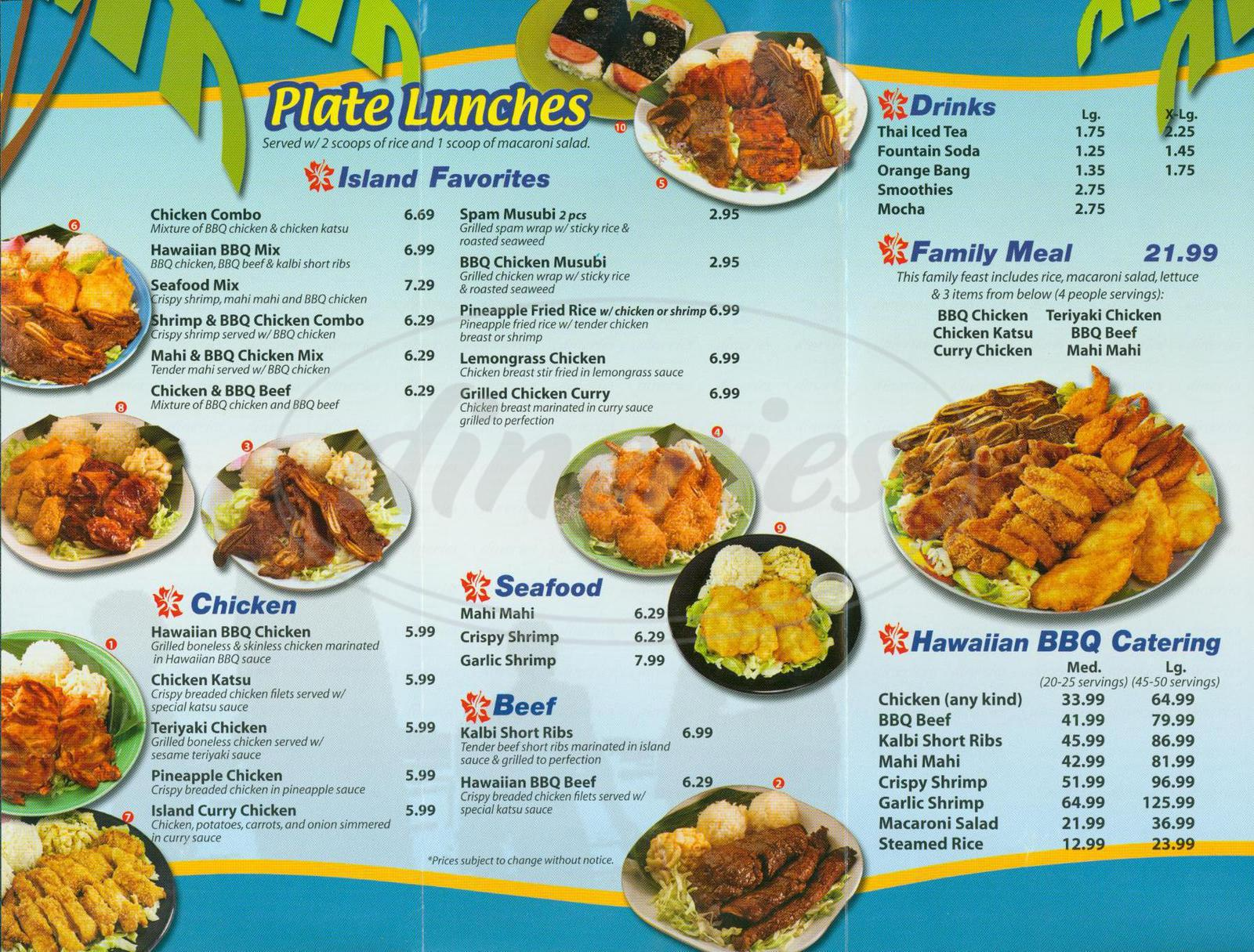 menu for Surfs Up Hawaiian BBQ