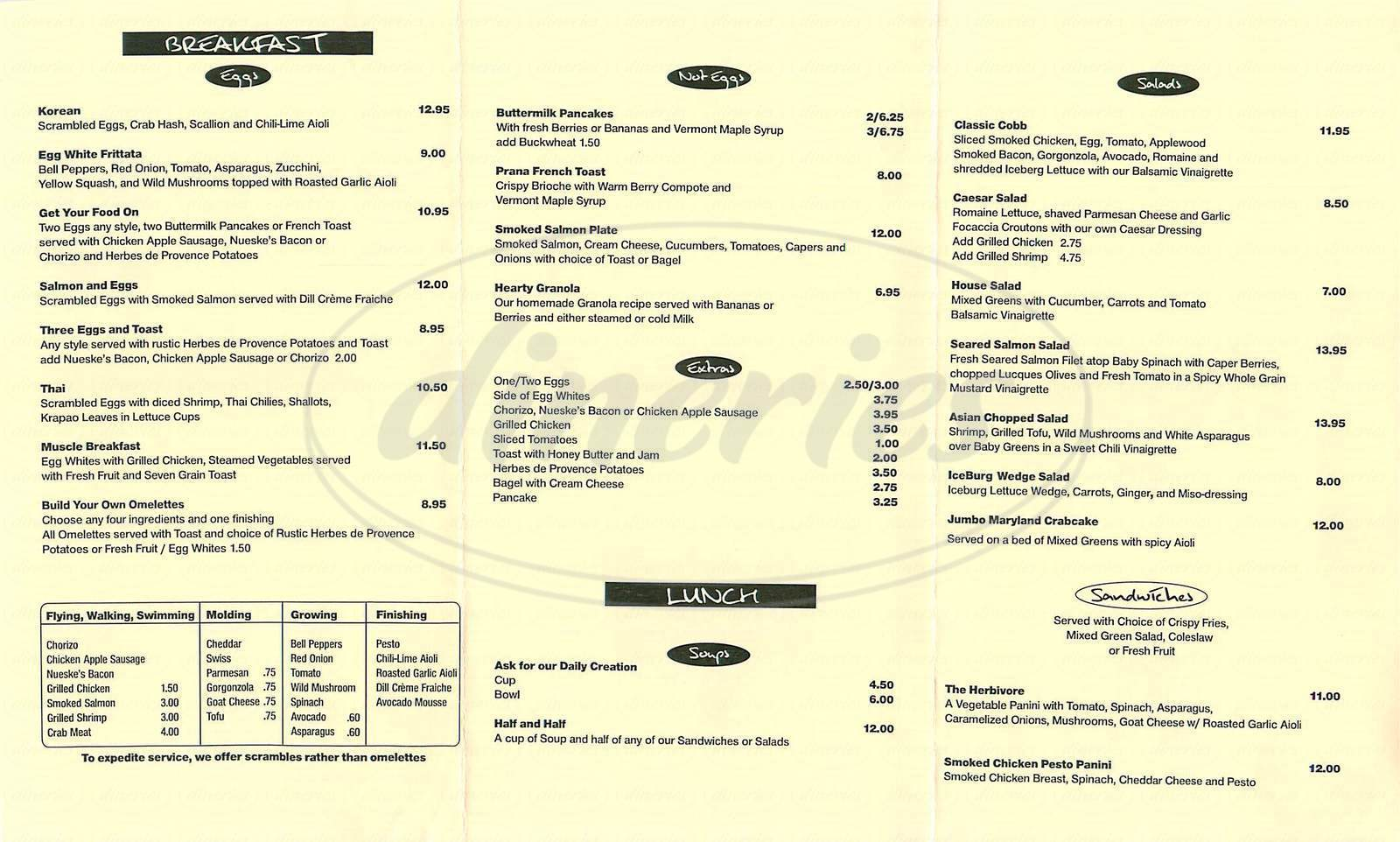 menu for Prana Cafe