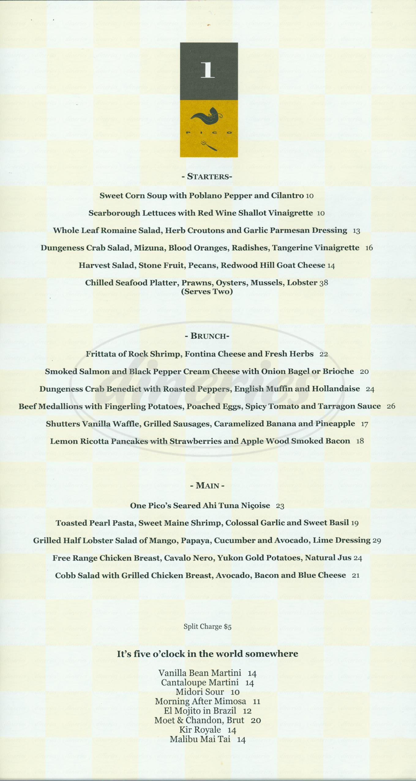 menu for One Pico