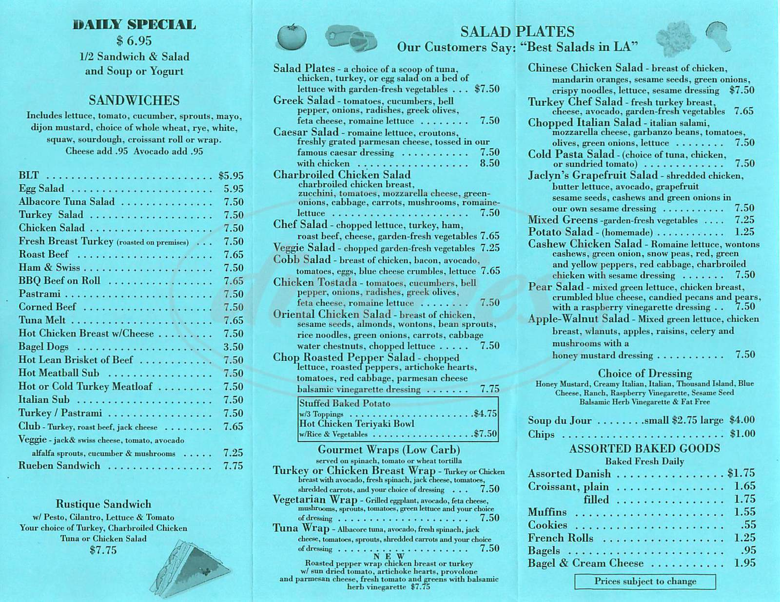menu for Bud's Deli