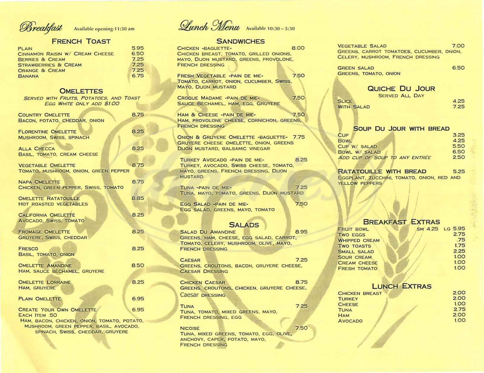 menu for Amandine