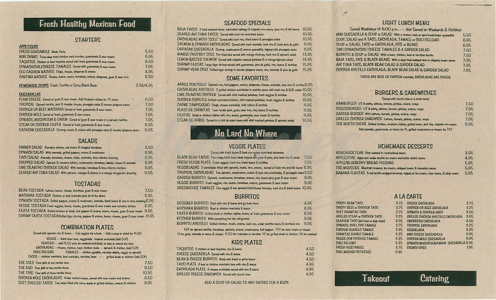 menu for Kay N Dave's Cantina