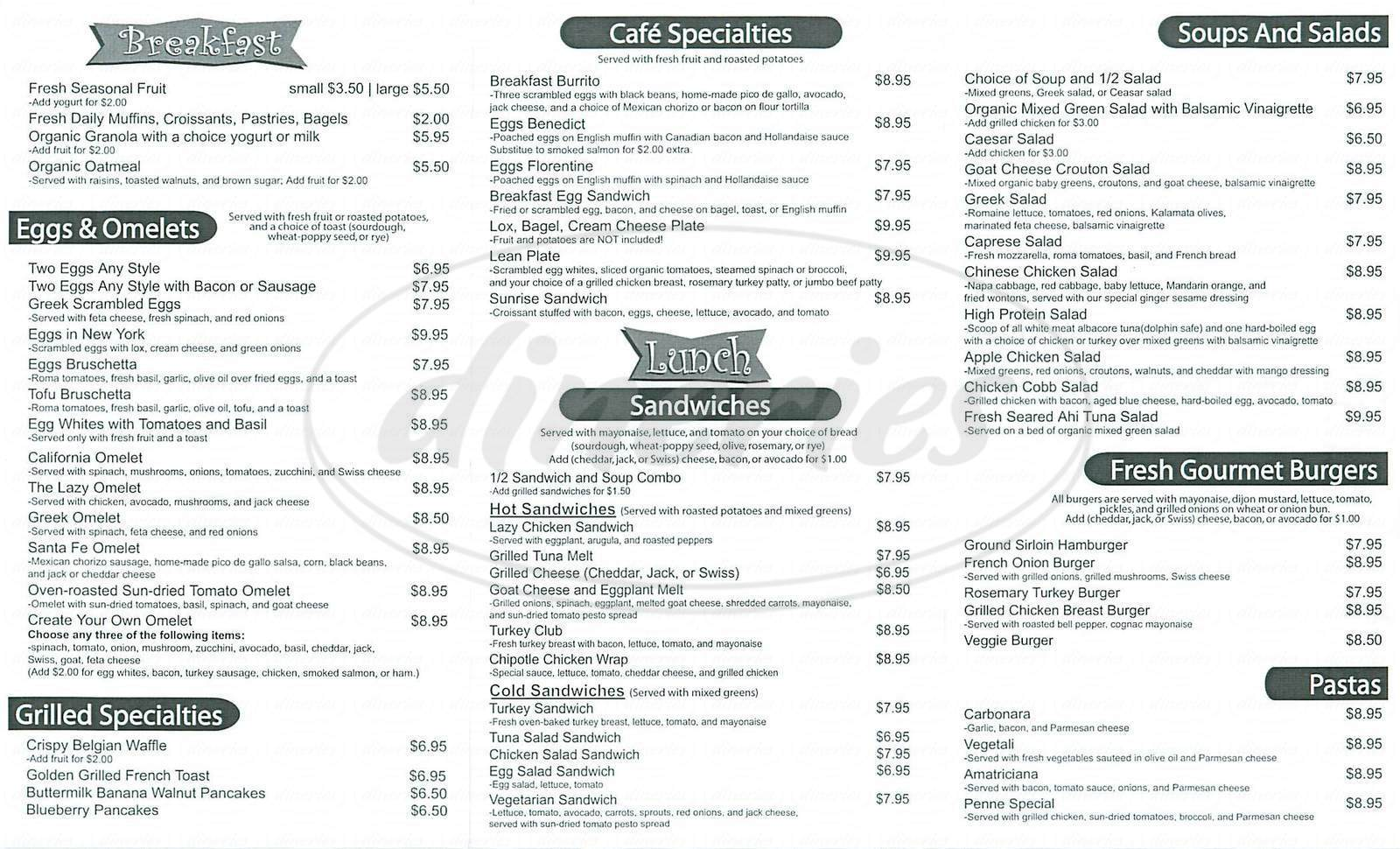 menu for Lazy Daisy Cafe