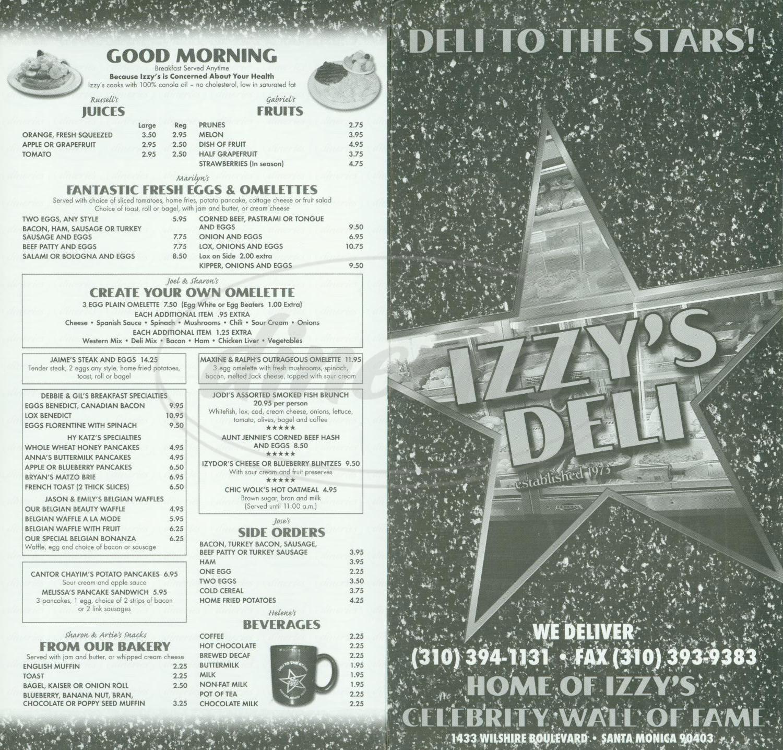 menu for Izzy's Deli