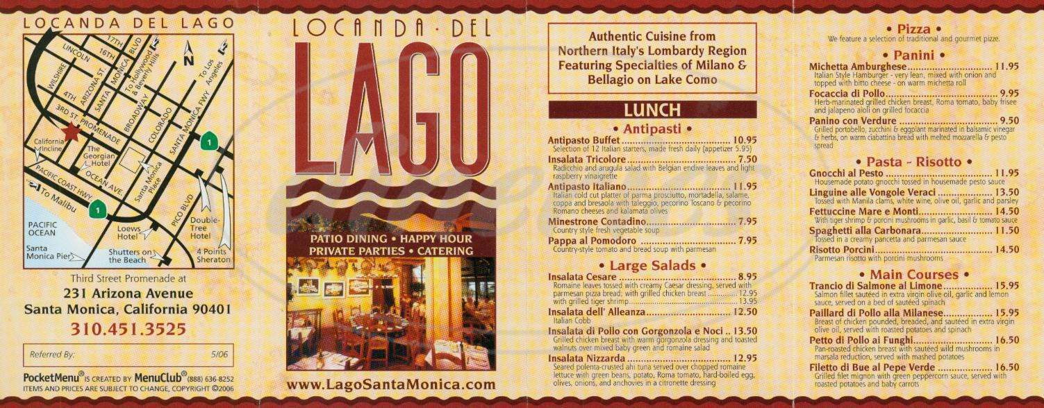 menu for Locanda Del Lago