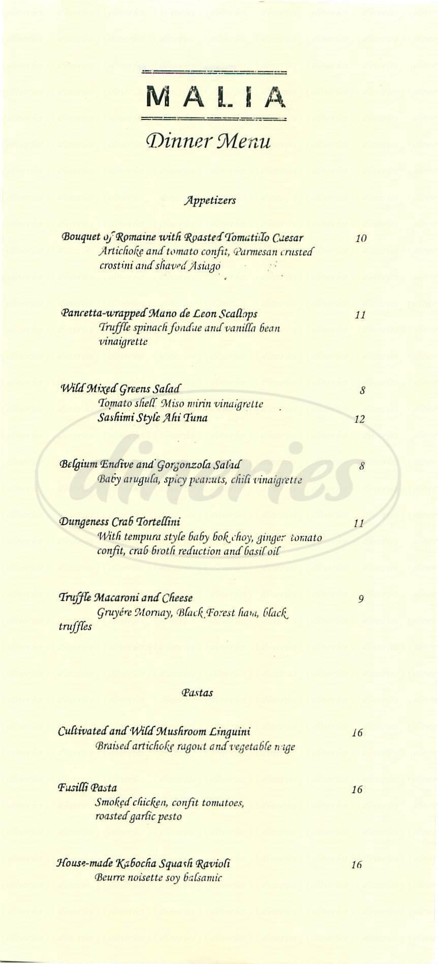 menu for Malia