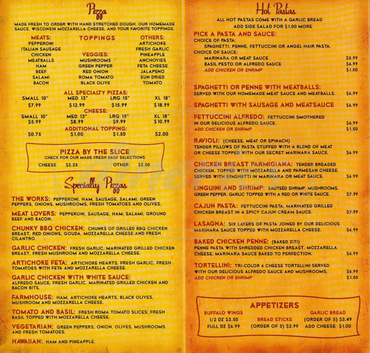 menu for Main Street Pizza & Cafe