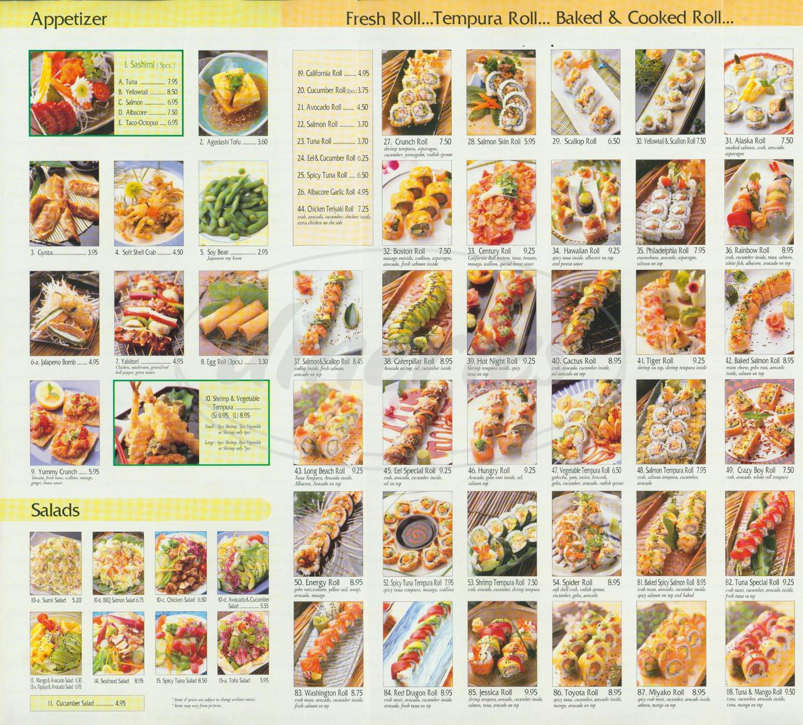 menu for Miyako