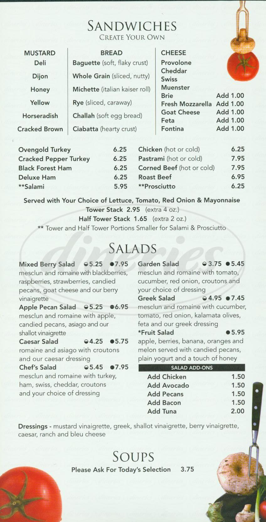 menu for Mustard Cafe