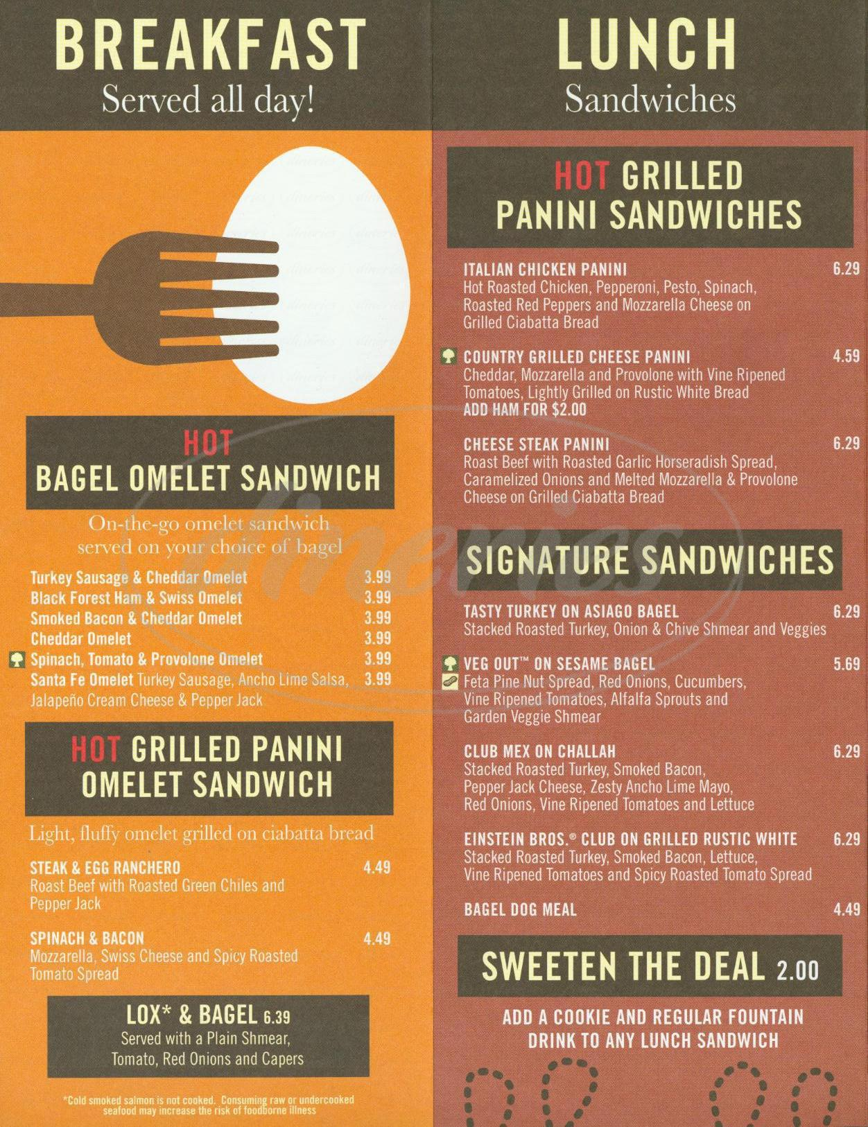 einstein bros. bagels menu - irvine - dineries