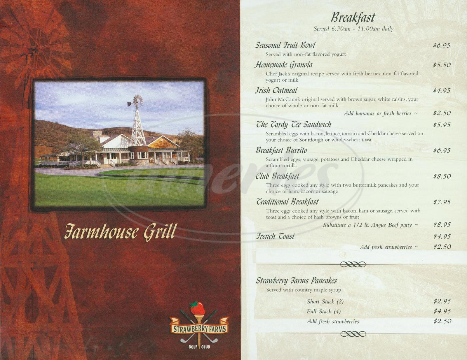 menu for Farmhouse Grill at Strawberry Farms