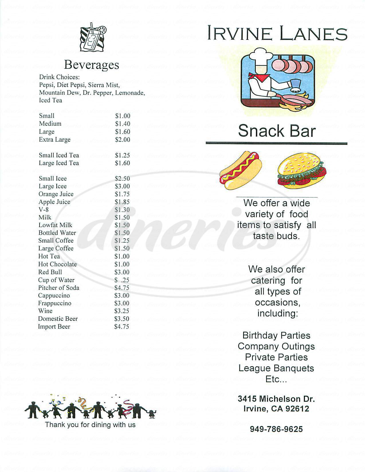 menu for Irvine Lanes Snack Bar