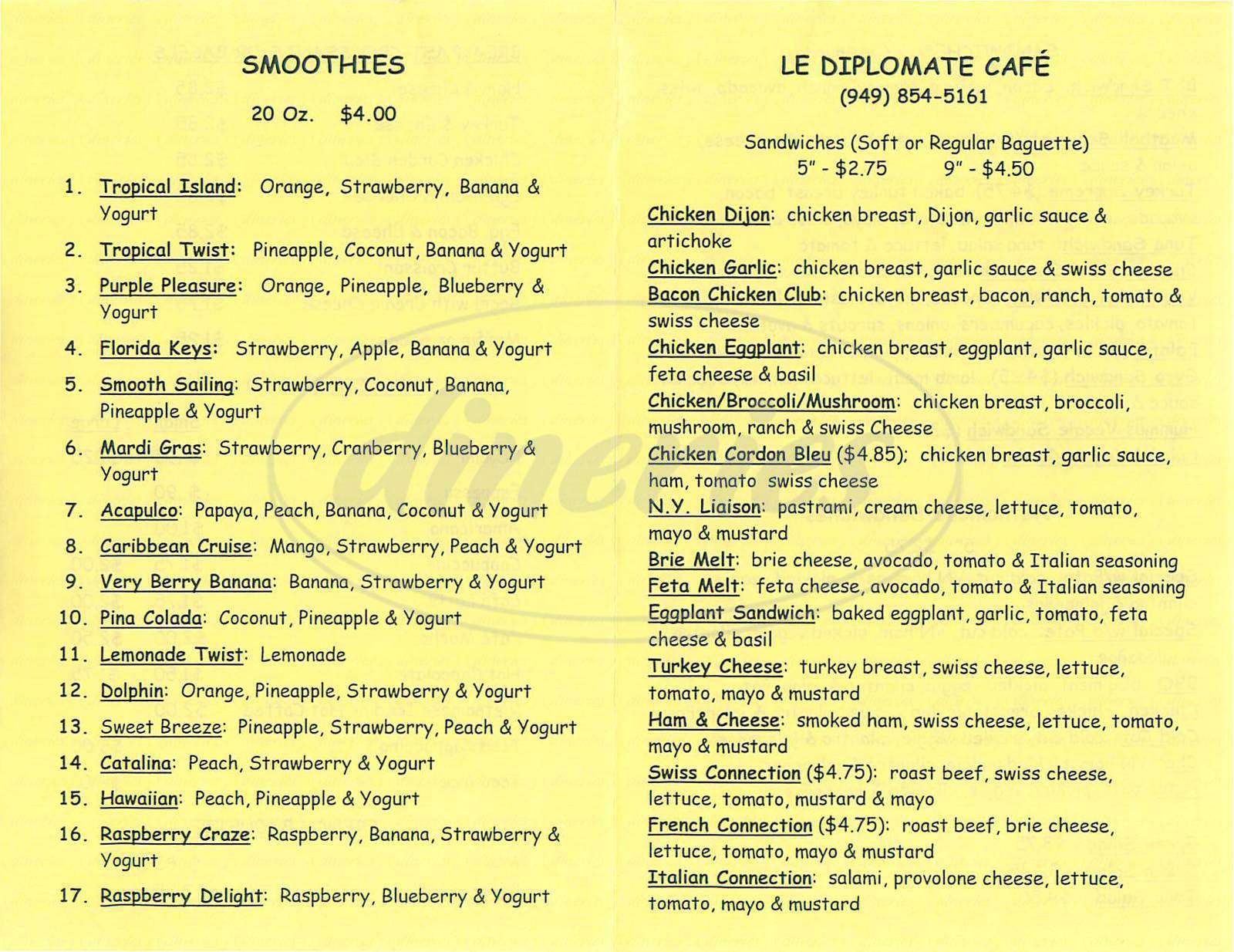 menu for Le Diplomate Cafe