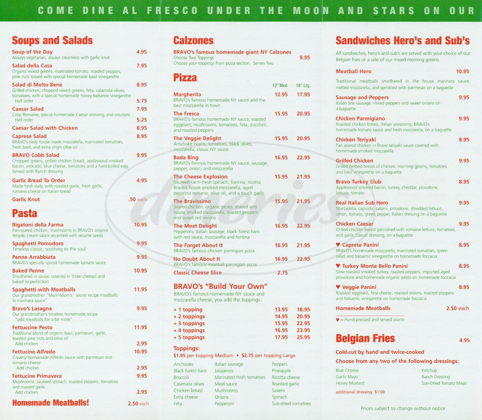 menu for Bravo Pizzeria
