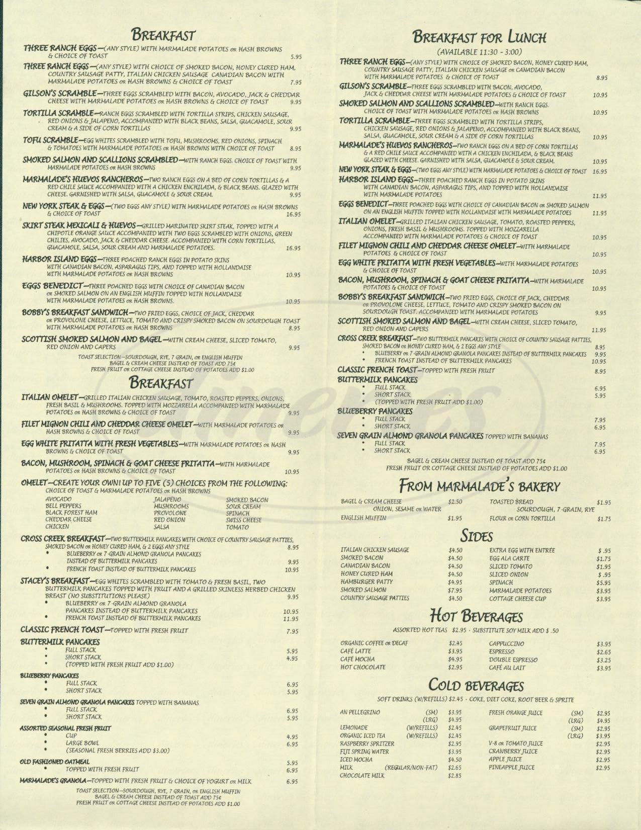 menu for Marmalade Cafe