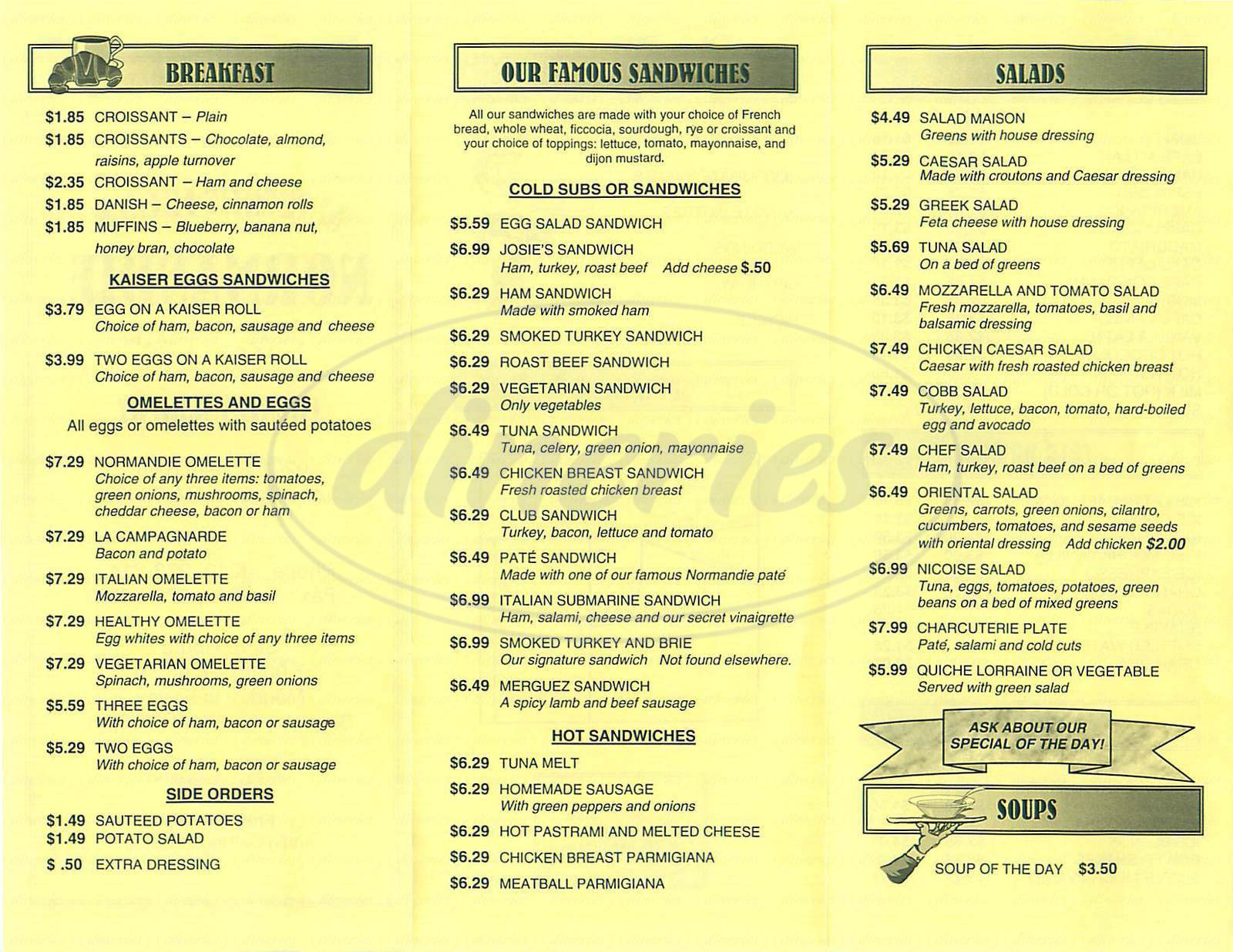 menu for Normandie Cafe