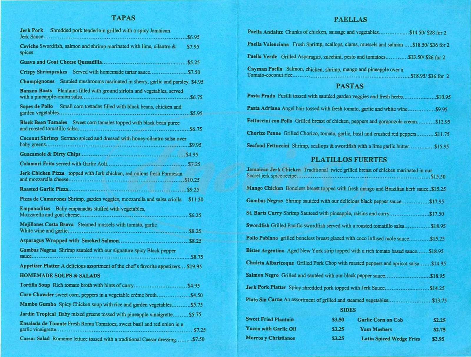 menu for Cha Cha Cha Caribbean Cuisine