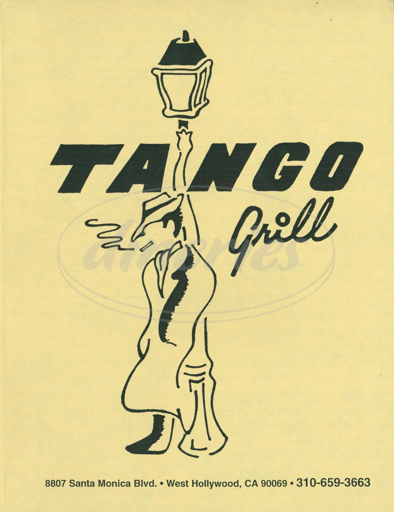 menu for Tango Grill