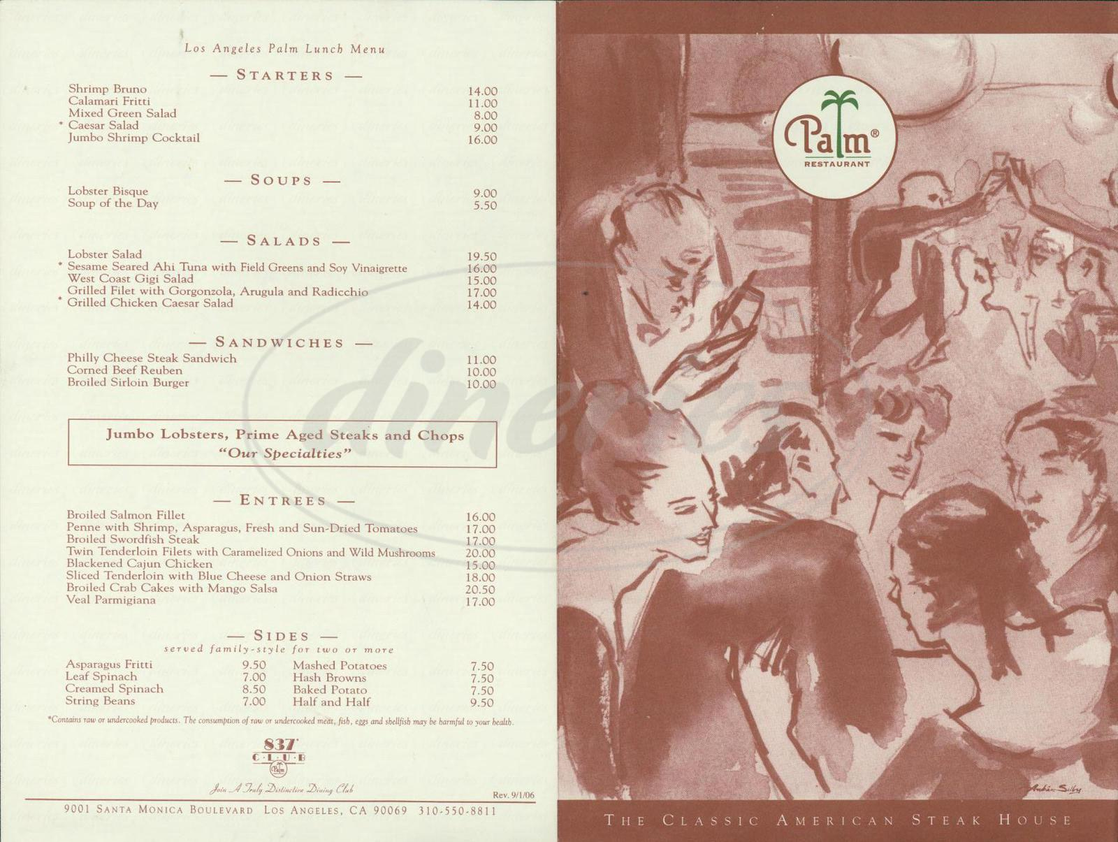 menu for The Palm Restaurant