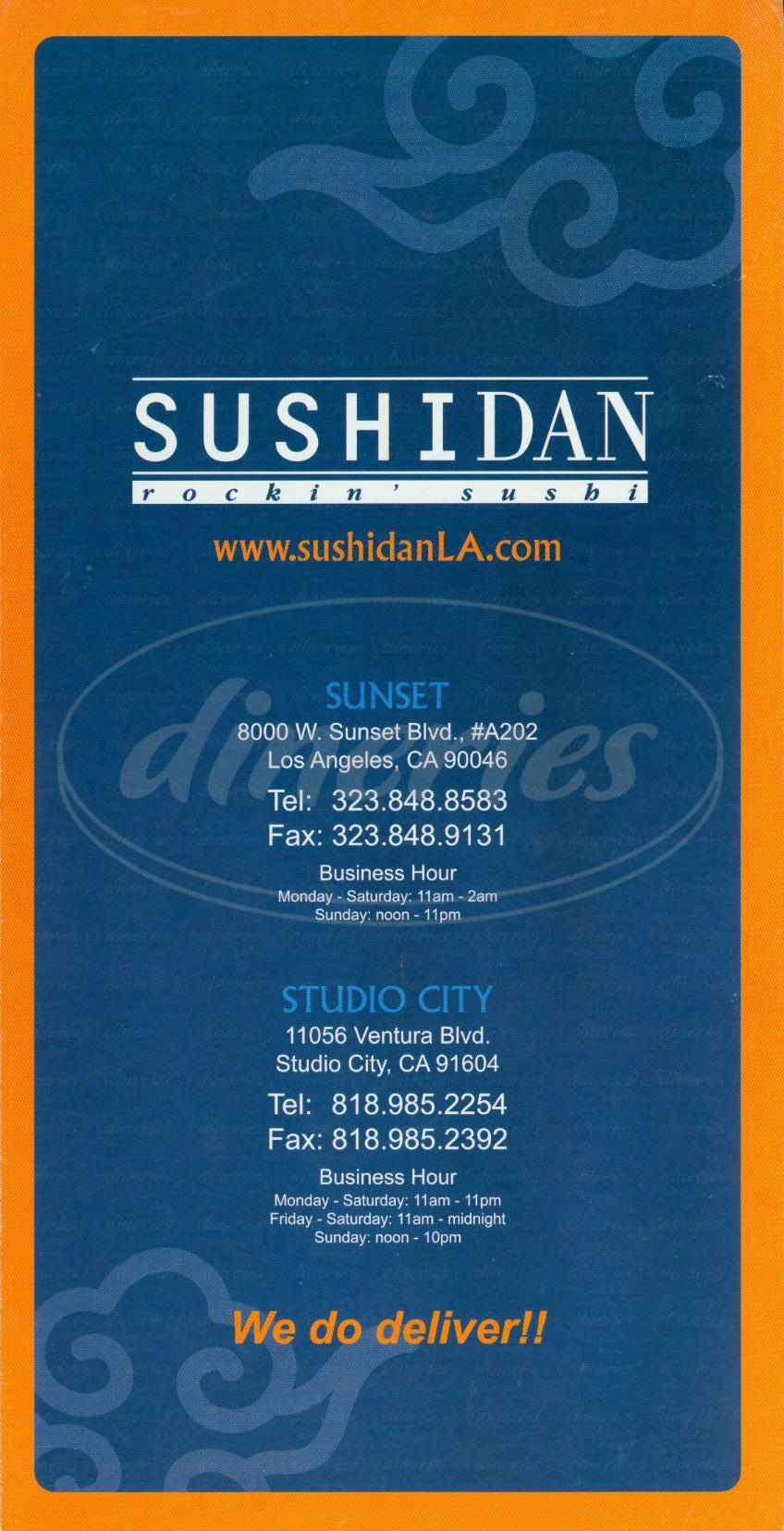 menu for Sushi Dan