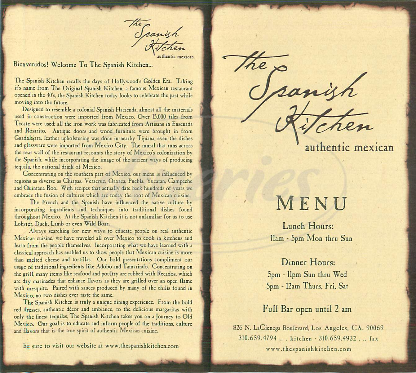 menu for The Spanish Kitchen