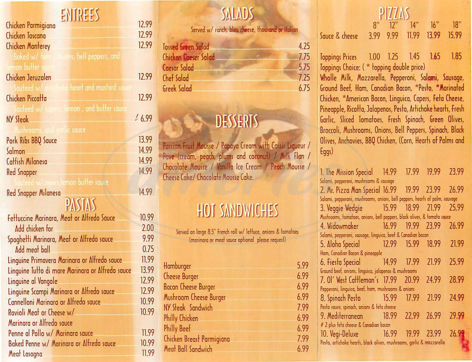 menu for Cleo's Brazilian Steak House