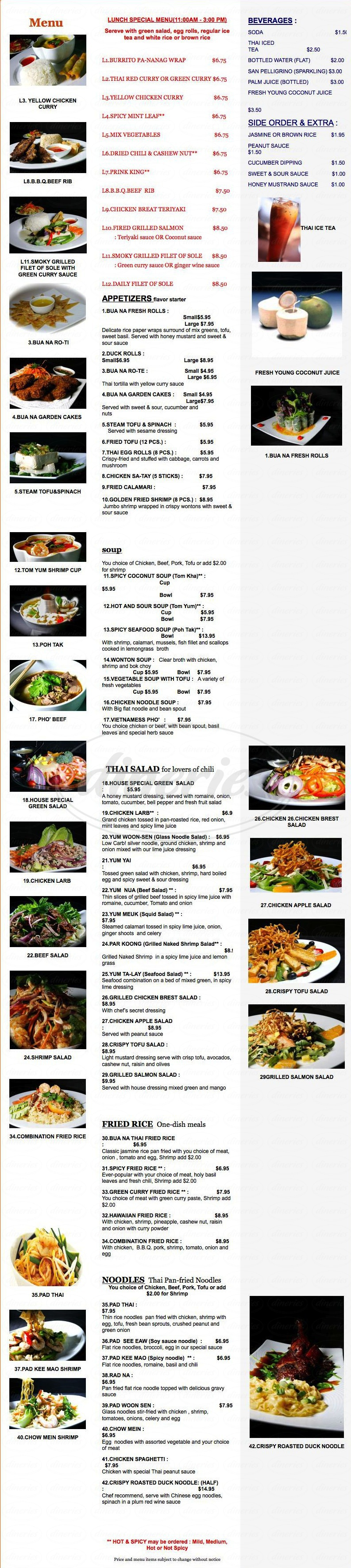 menu for Bua Na Thai Cuisine