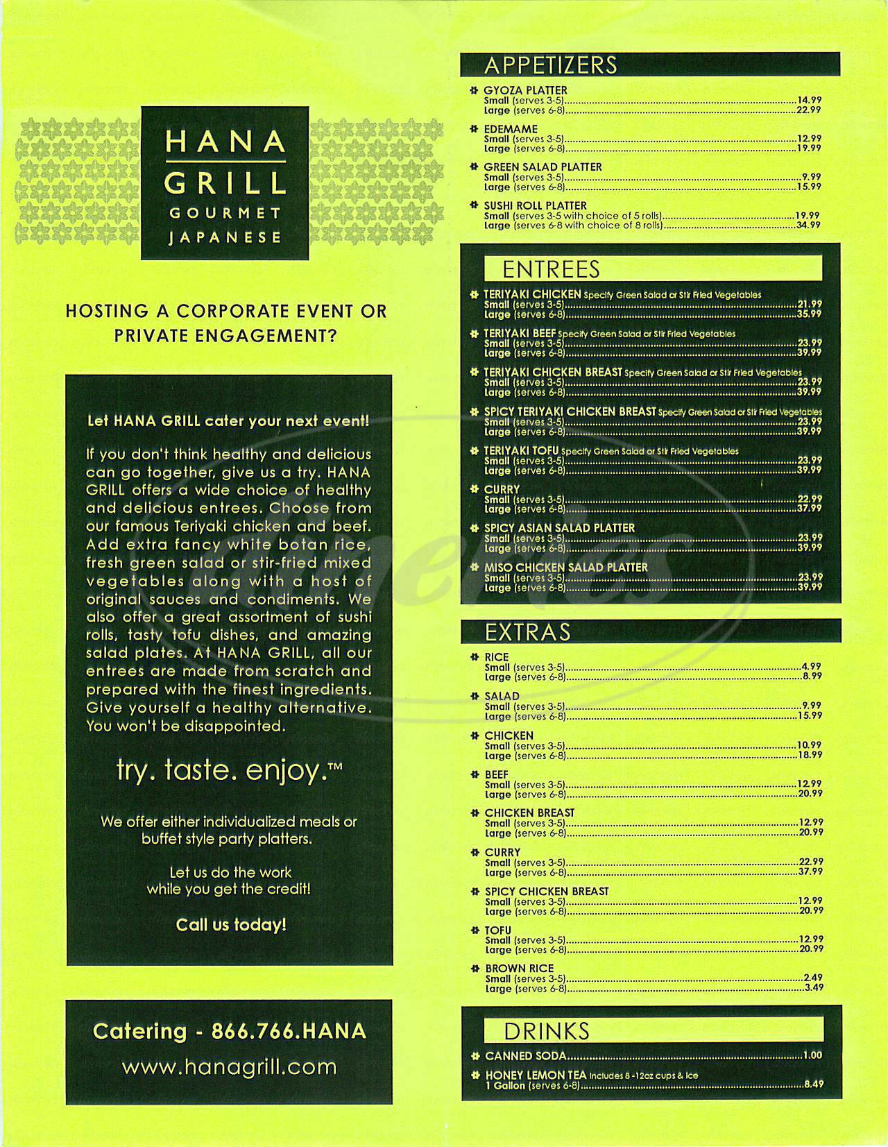 menu for Hana Grill
