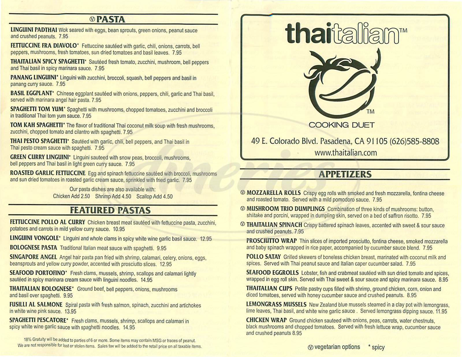menu for Thaitalian