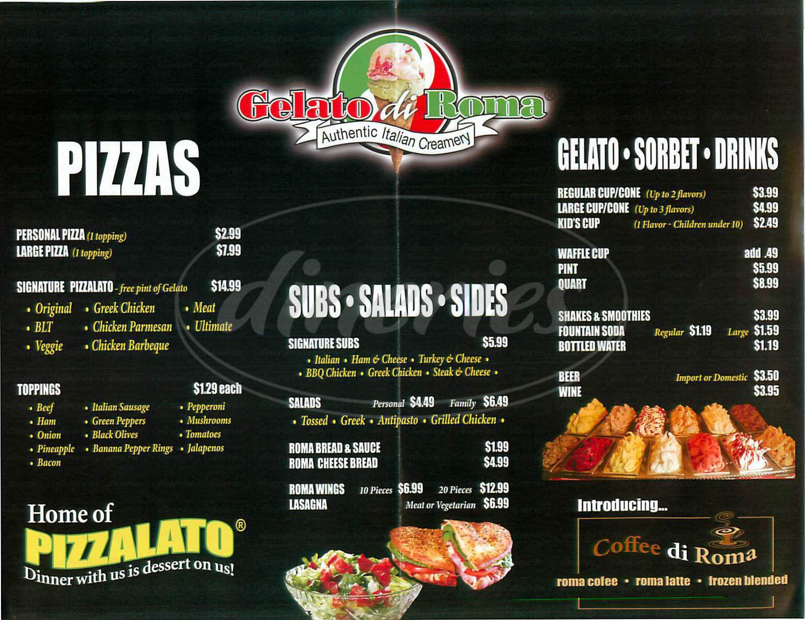 menu for Gelato Di Roma