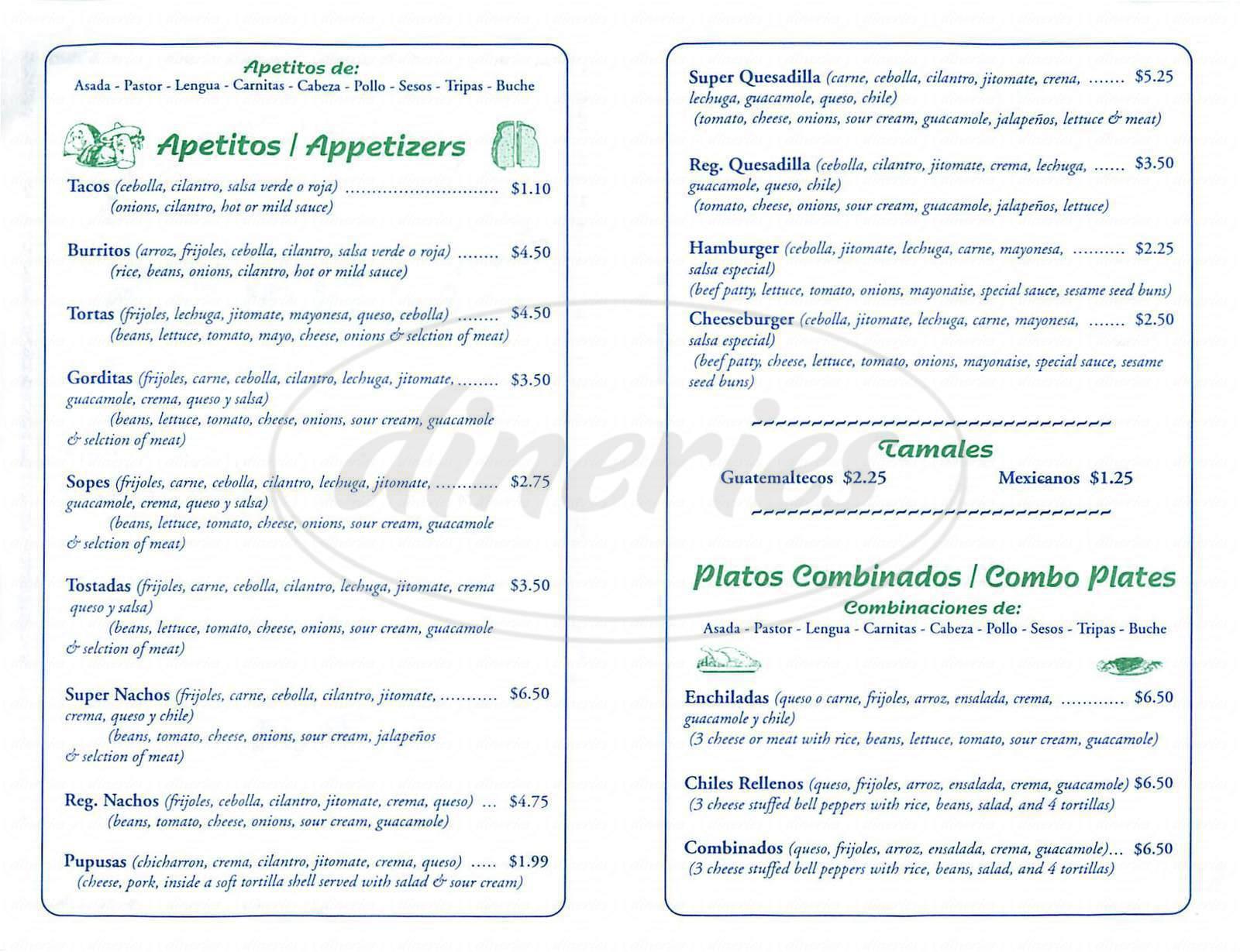 menu for Danny's Tacos