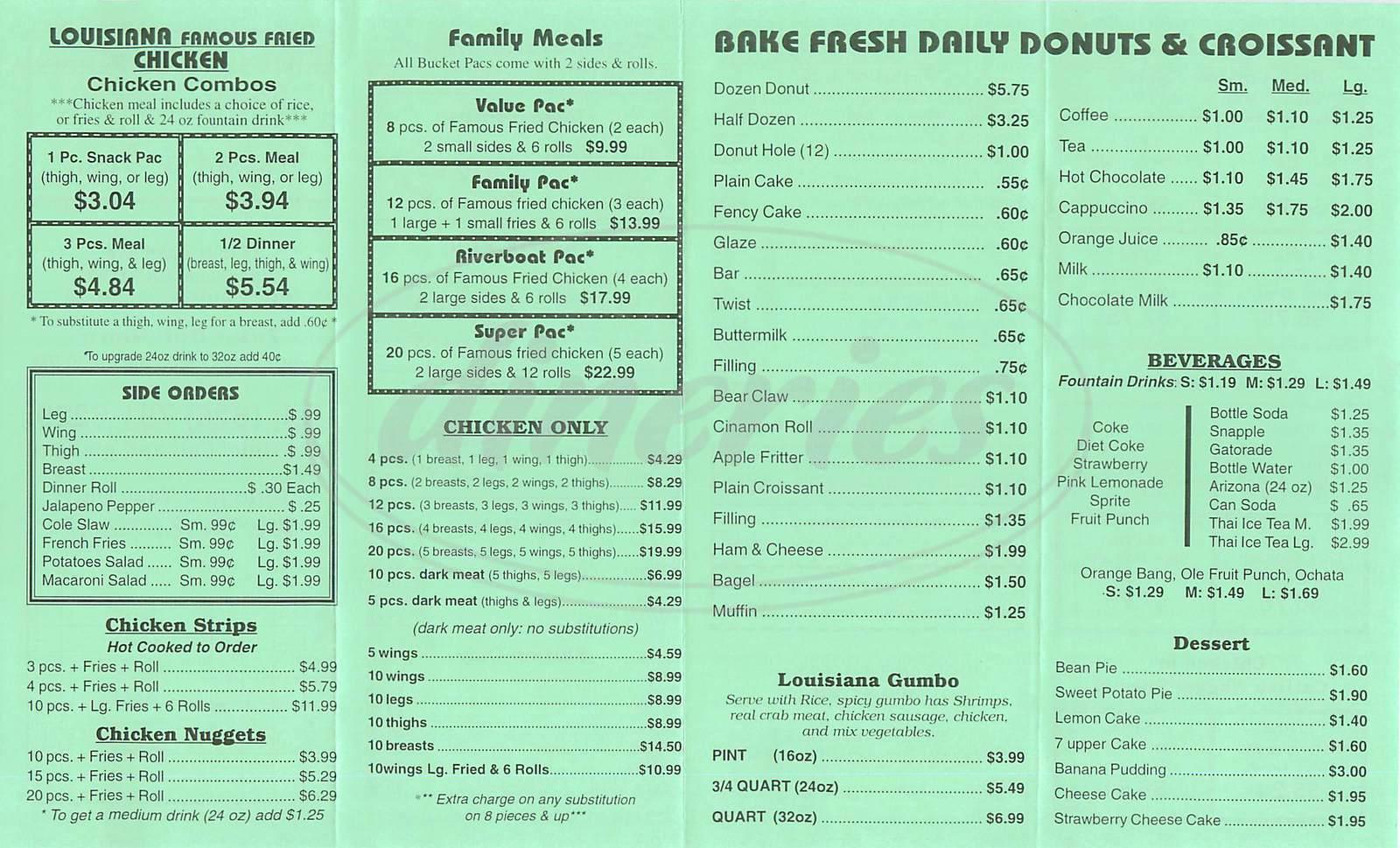 menu for Louisiana Famous Fried Chicken