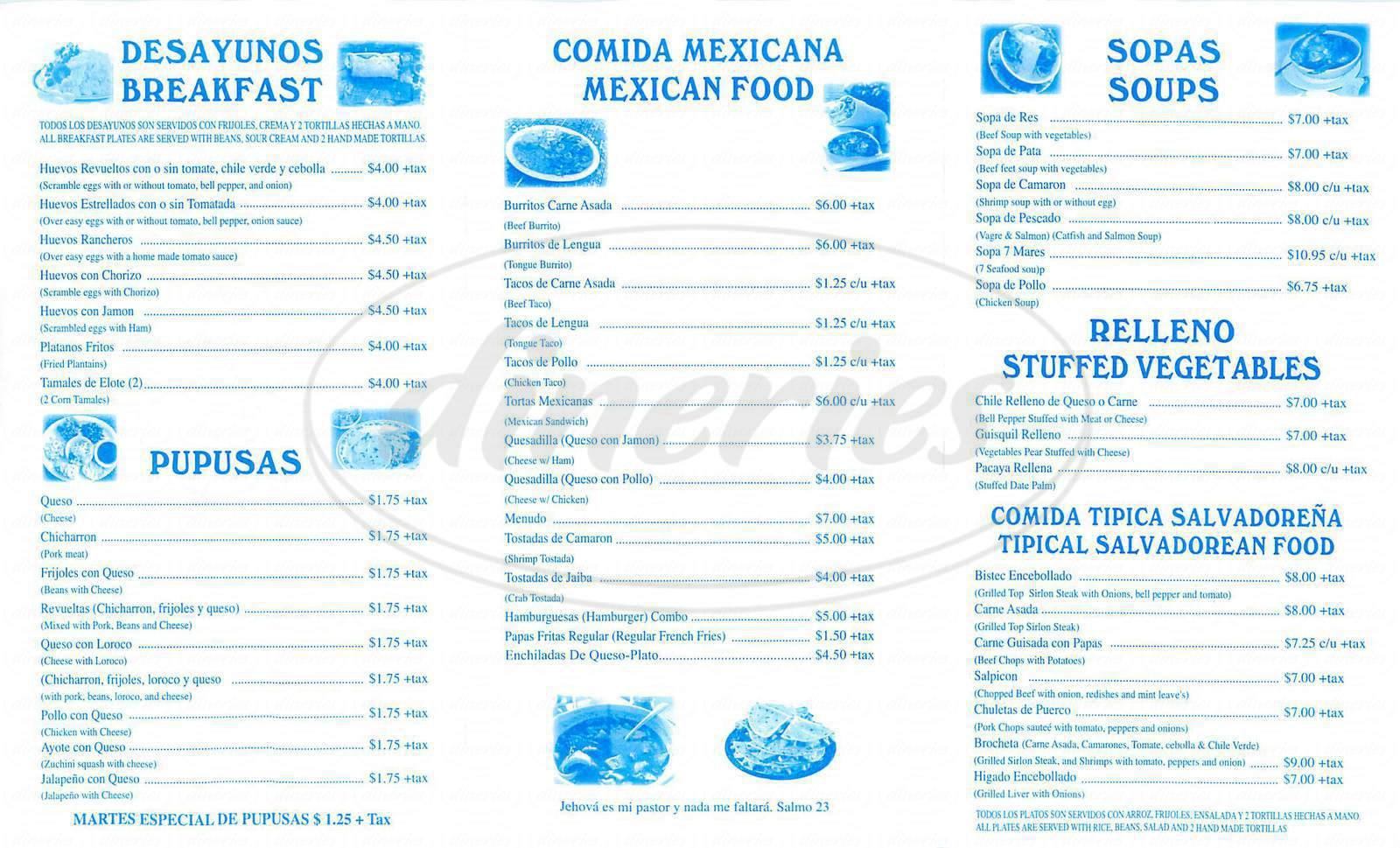 menu for La Pintoresca