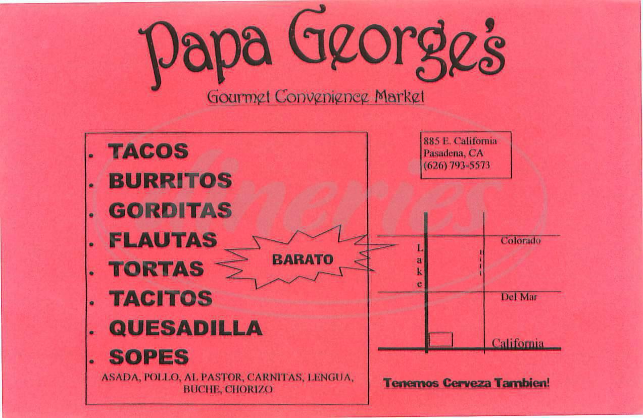 menu for Papa George's