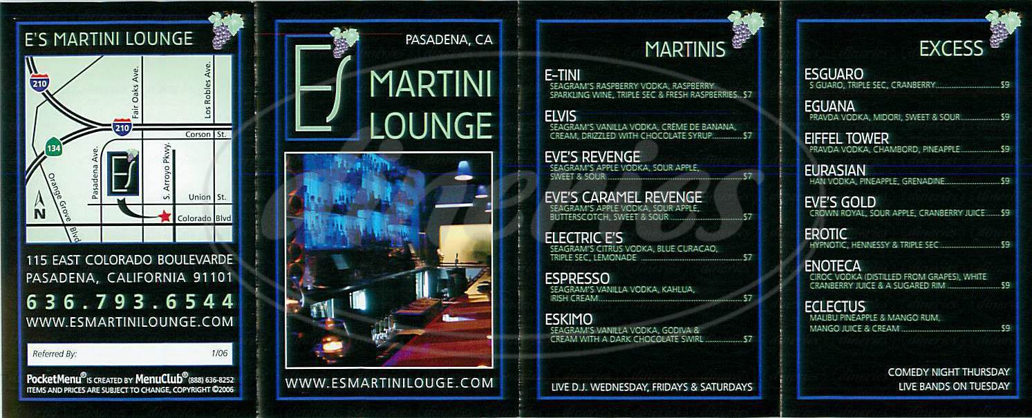 menu for E's Martini Lounge