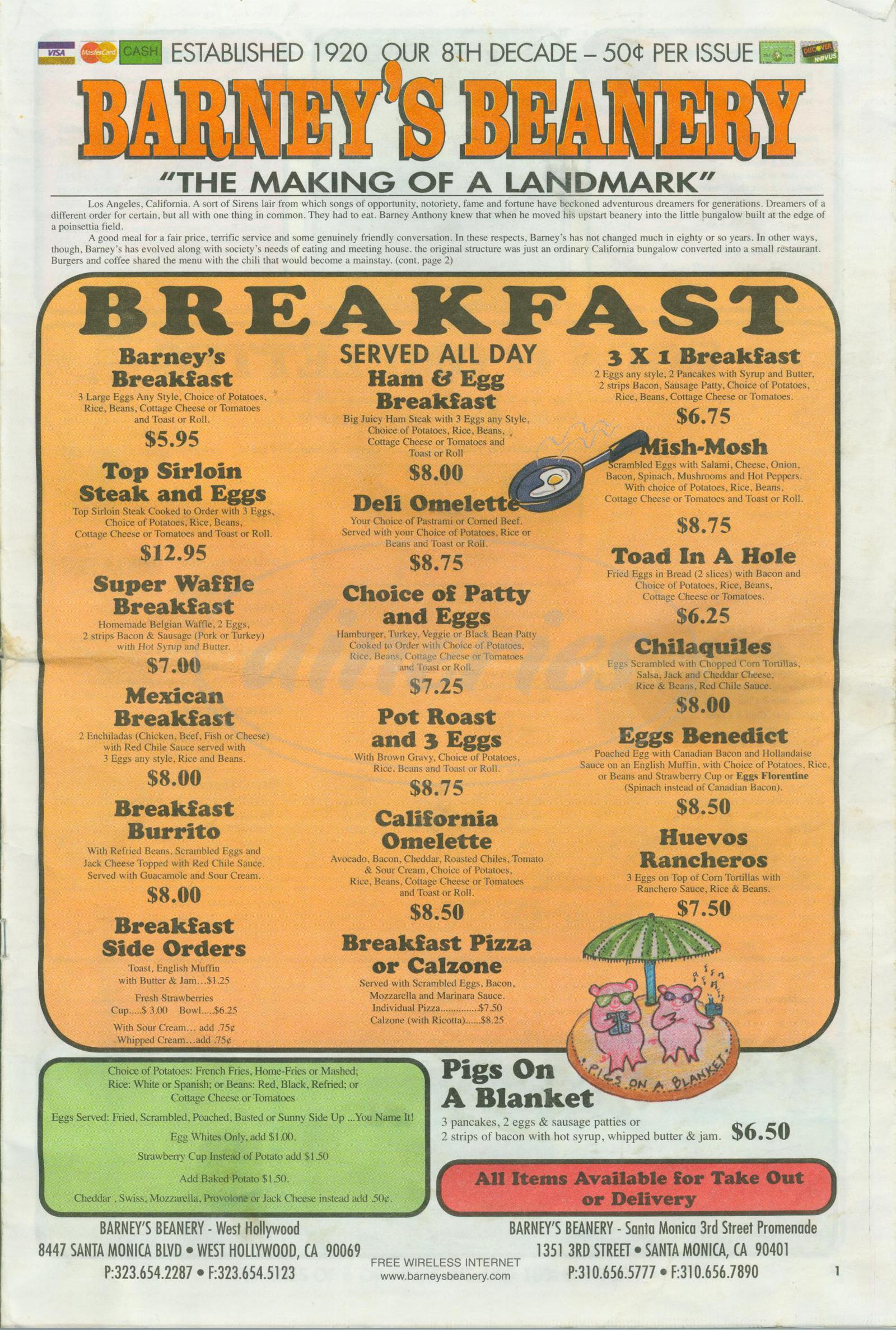 menu for Barney's Beanery