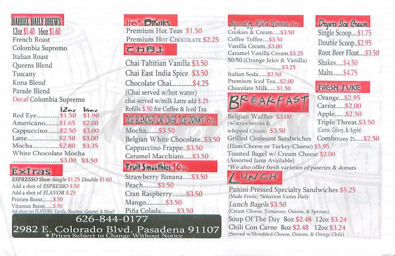 menu for The Coffee Barrel